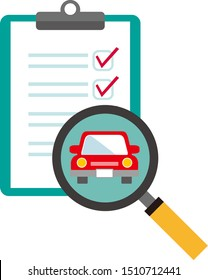 Magnifying glass looking at car with clipboard. Car illustration assessment.