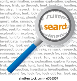 Magnifying glass looking at a dictionary page. Search.