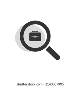 Magnifying glass looking for employment isolated web icon