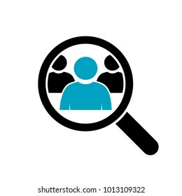 Magnifying glass looking for people icon, vector illustration. Loupe, lupe, search, zoom tool.