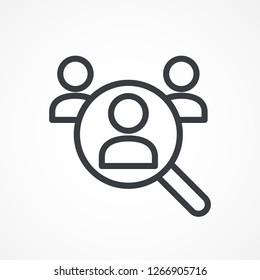 Magnifying glass looking for people icon, employee search symbol concept, headhunting, staff selection, vector illustration