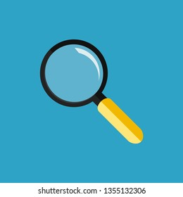Magnifying glass or loupe isolated. Yellow handheld loupe. Blue background. Find detail. Flat style. EPS 10