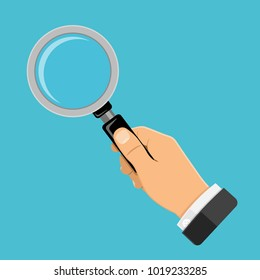 Magnifying Glass (Magnifier) in businessman hand. Flat style icon. Isolated vector illustration