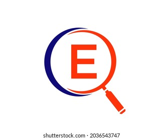 Magnifying Glass On Letter E concept. Search Logo. Initial E Letter Magnifying Glass Logo Design