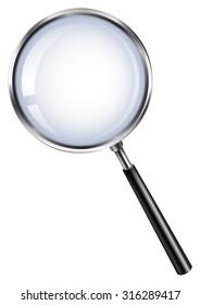 Magnifying glass on white illustration