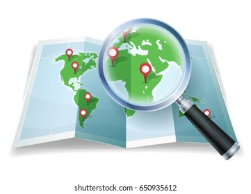 Magnifying Glass On World Map/ Illustration of a cartoon world map, with magnifying glass scaling details