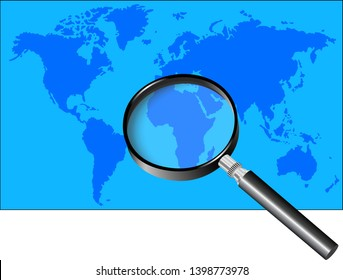 Magnifying glass over blue World Map