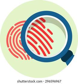 Magnifying Glass over Fingerprint. Vector flat icon