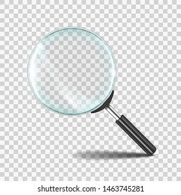 Magnifying glass. Realistic zoom lens icon with transparent glass, research loupe 3D concept. Vector magnifier zoom search tool symbol