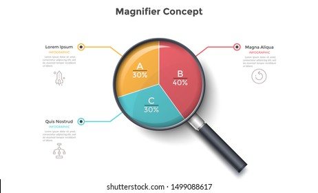 Magnifying glass with round pie chart divided into 3 colorful sectors. Concept of three parts of business project. Modern infographic design template. Vector illustration for statistical report.