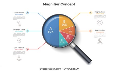 Magnifying glass with round pie chart divided into 5 colorful sectors. Concept of five parts of business project. Modern infographic design template. Vector illustration for statistical report.