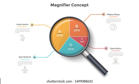 Magnifying glass with round pie chart divided into 4 colorful sectors. Concept of four parts of business project. Modern infographic design template. Vector illustration for statistical report.