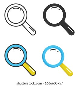 Magnifying Glass and Search Icon Set Vector Design on White Background.
