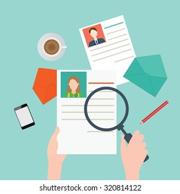 Magnifying glass searching business people, Human resources, vector illustration.