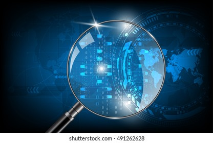 Magnifying glass is searching world map digital code security technology background