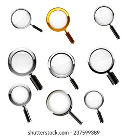 Magnifying glass set. Vector