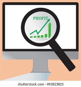 Magnifying glass showing grow profit bar graph on the screen of computer - vector eps10 illustration