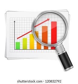 Magnifying glass showing rising bar graph, vector eps10 illustration