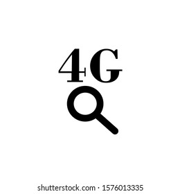 magnifying glass and signal 4G vector icon logo template