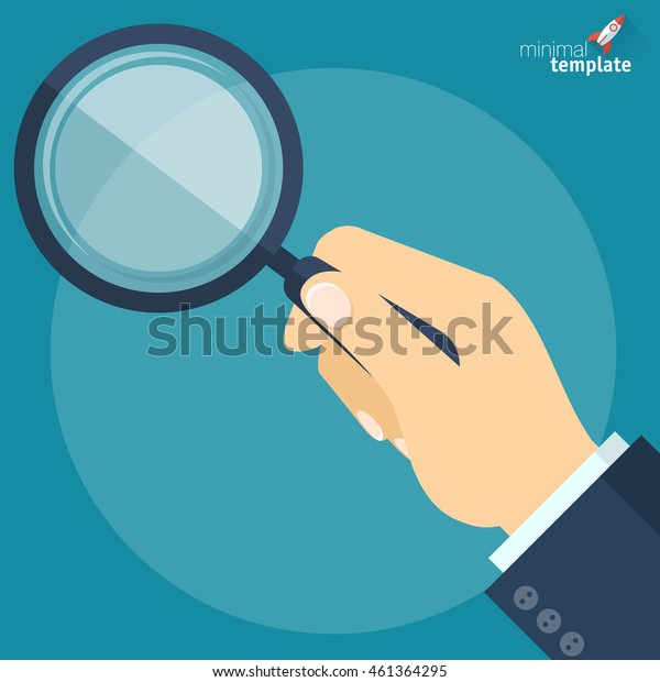 Magnifying glass vector illustration. Hand with magnifier. Search icon. Flat design vector template for analysis and research.