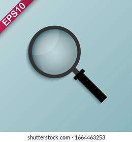 Magnifying glass vector illustration on light blue background