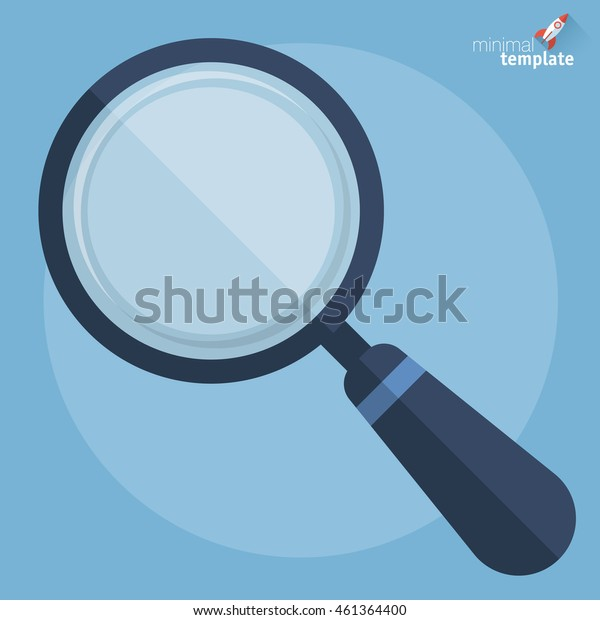 Magnifying glass vector illustration. Search icon. Flat design vector template for analysis and research.