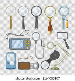 Magnifying glass vector magnification zoom and magnify research lens illustration set of magnified scientific exploration search sign isolated on transparent background