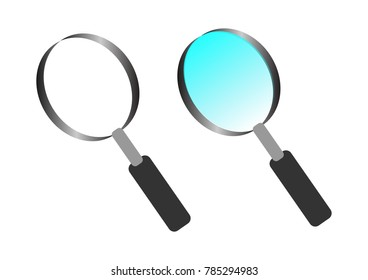 Magnifying glass vector on white background. search data concept
