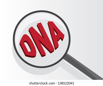 Magnifying glass viewing DNA text