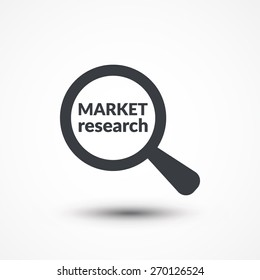 Magnifying glass with words market research on white background