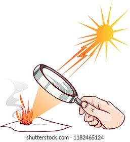 Magnifying lens used to concentrate some solar rays on a piece of  paper. Digital illustration.