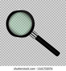 Magnifying, transparent glass of black color, glass, shiny, with glare, vector illustration. Magnifier, search button. For web games, stores or web applications.