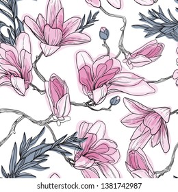 Magnolia background. Spring flowers. Seamless vector pattern with flawers. Vintage illustration. Blooming tree.