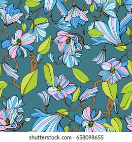 Magnolia blossom colorful seamless pattern