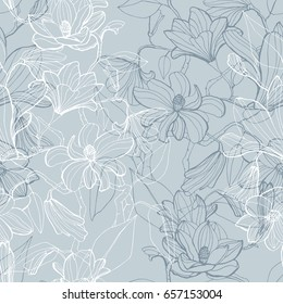 Magnolia blossom seamless pattern in graphic sketch style