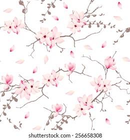 Magnolia blossom trees seamless vector pattern