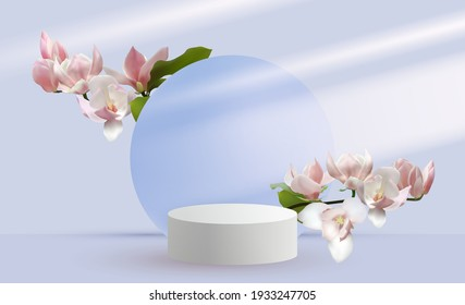 Magnolia branches vernal flower tree blossom and 3d scene rendering with podium. Minimal pink Mother's Day scene platform, stage scene for cosmetic product show. International Women's day card.