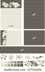 Magnolia floral swag on contrasting ecru and charcoal wedding invitation set has pinstriped background with ecru floral embellishment. Standard formats for invitation, RSVP card, and program