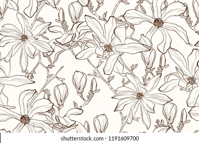 Magnolia flower brown sepia outline seamless pattern on beige background. Seamless vector background. Vintage illustration. Blooming tree. Brown background.
