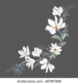 Magnolia flower embroidery, vector, illustration