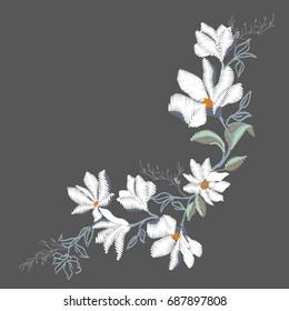 Magnolia flower embroidery, vector, illustration