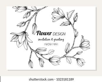 Magnolia flower frame drawing  illustration for invitation and greeting card design.
