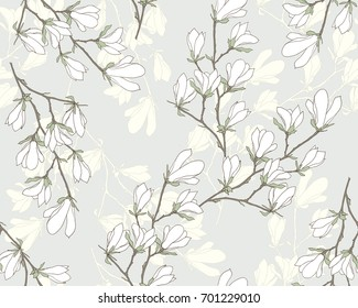 Magnolia flower vector illustration. Seamless pattern with white flowers on a gray background.