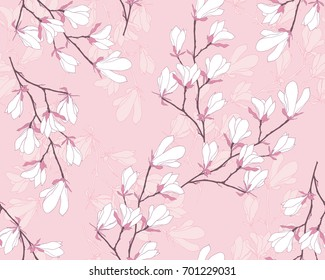Magnolia flower vector illustration. Seamless pattern with white flowers on a pink background.