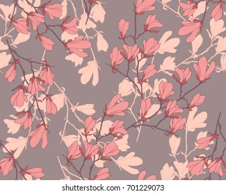 Magnolia flower vector illustration. Seamless pattern with pink flowers on a gray background.