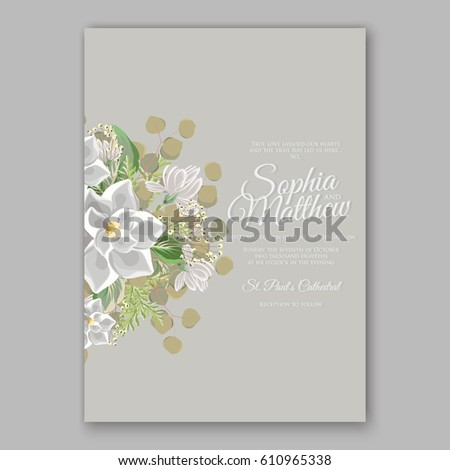 magnolia flower wedding invitation card template