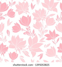 Magnolia pink flowers seamless vector pattern, bouquets in blossom. Beautiful home decor and interior design. Floral silhouettes. Spring blossom wallpaper. Wildflowers Wallpaper in Pastel Colors