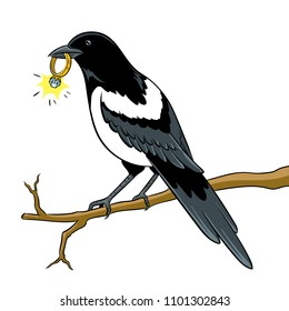 Magpie bird with golden ring pop art retro vector illustration. Isolated image on white background. Comic book style imitation.