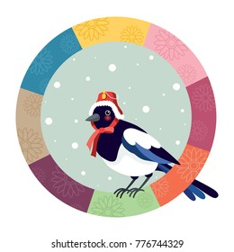 The magpie wearing a traditional Korean hat. Korean traditional Happy new year day