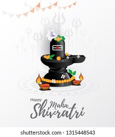 Maha Shivratri Festival Background Template Design with Shiv Ling Vector Illustration